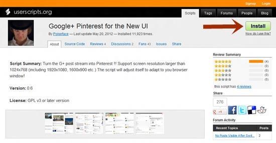 install Google+ Pinterest Pinterest style User Interface for Google+ [How-to]