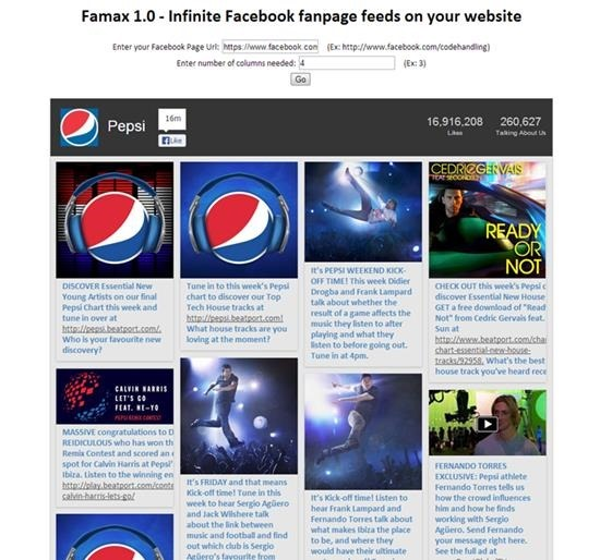 Infinite Facebook Fan Page Feeds with Famax