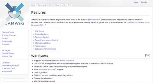 JAMWiki 17 open source wiki engine/software