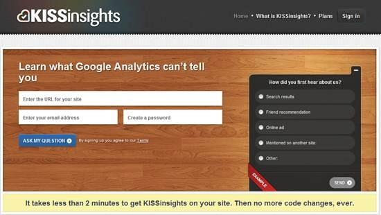 KISSinsights customer feedback tool