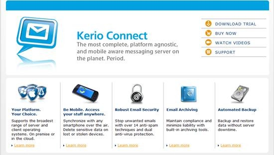 Kerio Connect - business email, messaging, collaboration and full groupware single server solution