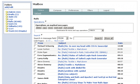 Mailr Ruby On Rails webmail 6 useful Ajax and PHP based Webmail Client