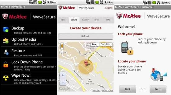 McAfee WaveSecure 9 Android Tracking Apps for Find Lost Android smartphone