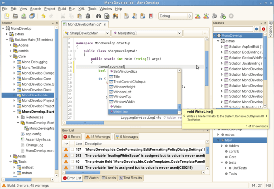 MonoDevelop - open source IDE for C# and other .NET languages
