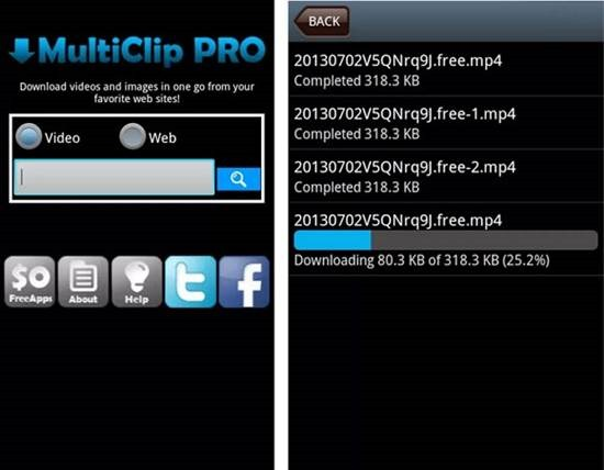 Multi Clip Video Download for Android