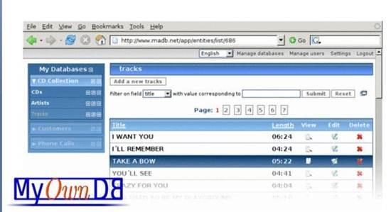 Myowndb 8 Online Database builder/creators
