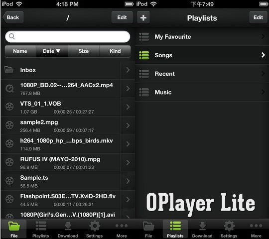 OPlayer Lite - Mobile video players for iPhone