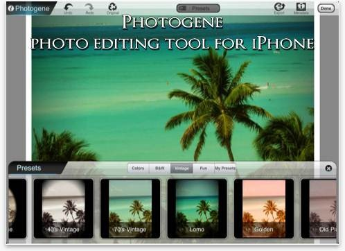 Photogene photo editing tool for iPhone
