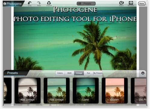 Photogene photo editing tool for iPhone