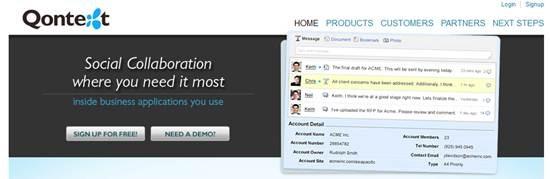 Qontext social collaboration platform
