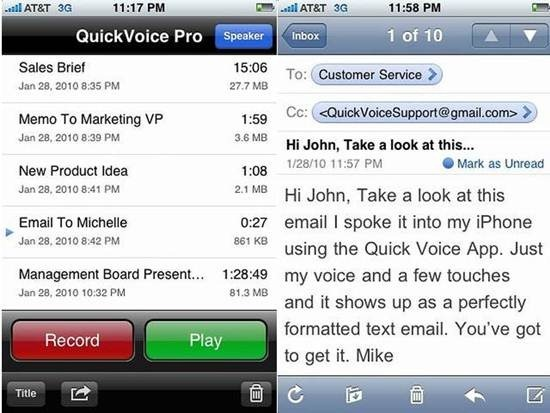 QuickVoice2Text Email iphone dictation apps