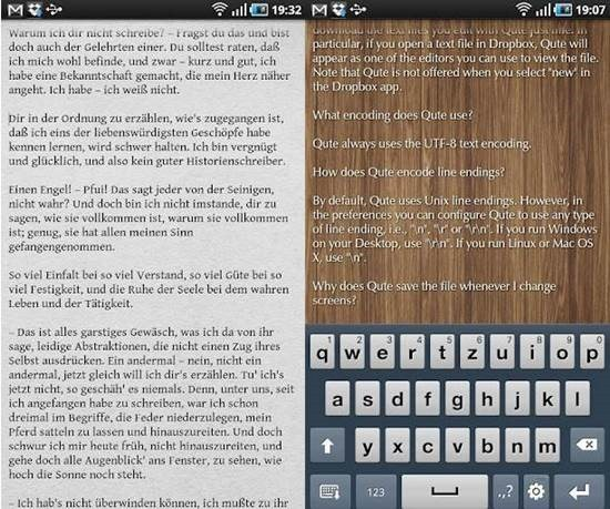 Qute Themable plain text editor for Android