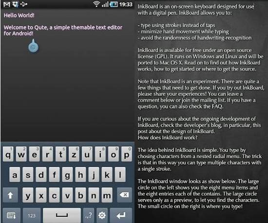 Qute Themable text editor for Android