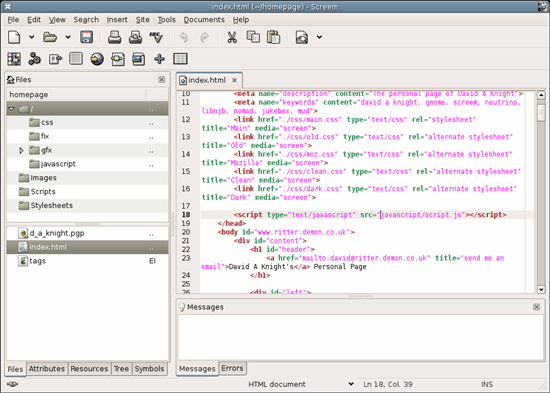 Screem - open source HTML/XML editor for Linux