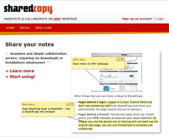 SharedCopy - AJAX based web annotation