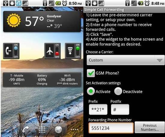 Simple Call Forwarding app