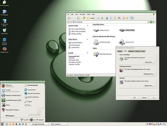 SmoothGnome_for_Windows_XP 55 most Beautiful free Window XP Themes and Visual Styles