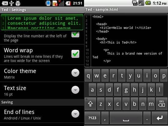Ted lightweight text editor for Android 1