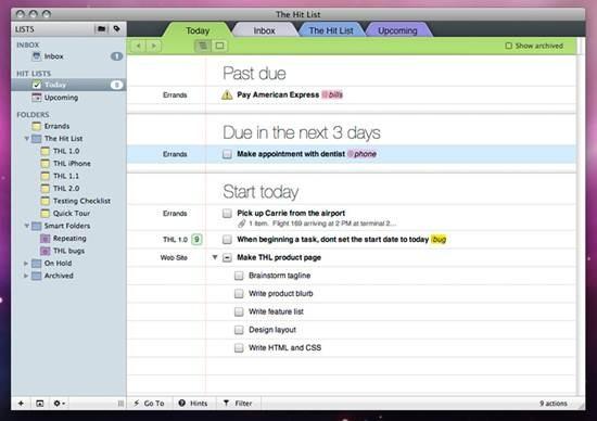 The Hit List GTD for Mac