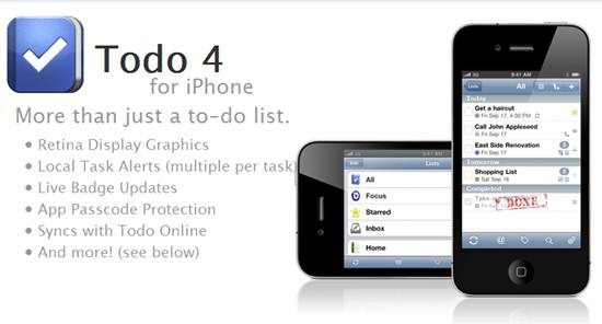 Todo 4 - task management tool for iPhone