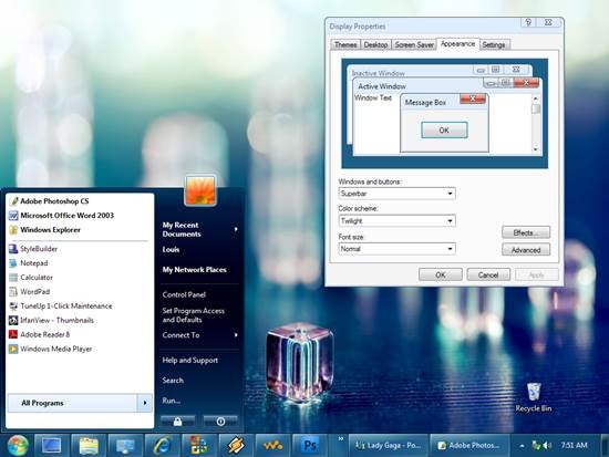 Windows_7_Beta_style_for_XP 55 most Beautiful free Window XP Themes and Visual Styles