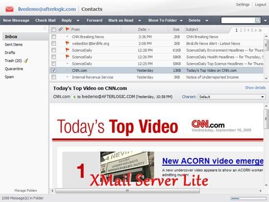 XMail Server Lite - Free e-mail server and Ajax Webmail