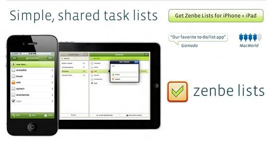 Zenbe Lists mobile to-do list : 20 most useful Mobile To-Do List manager for iPhone