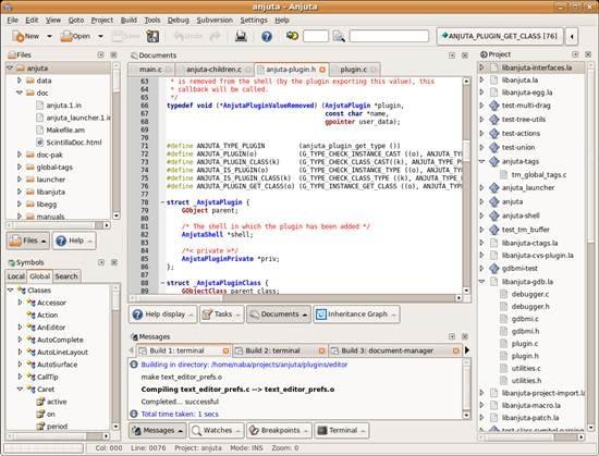 Anjuta DevStudio - gnome IDE