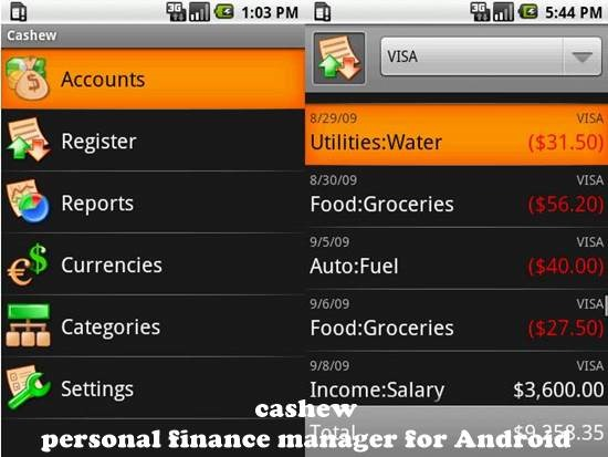 cashew 12 useful Personal Finance manager for Android