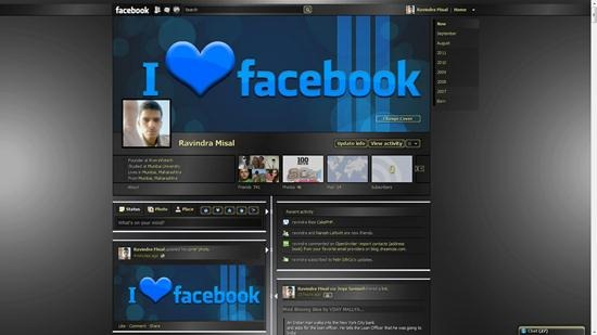 dark gray transparent theme for facebook timeline