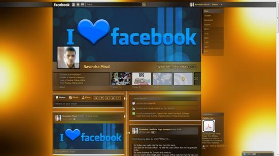 dark orange shiny facebook timeline theme