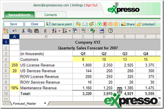 Expresso - Online Spreadsheet Collaboration tool
