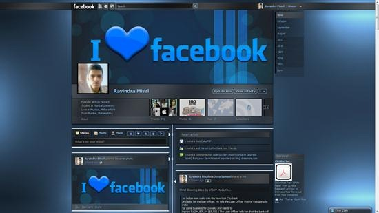 facebook dark blue Shiny Transparency timeline theme