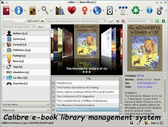 Calibre - e-book library management system