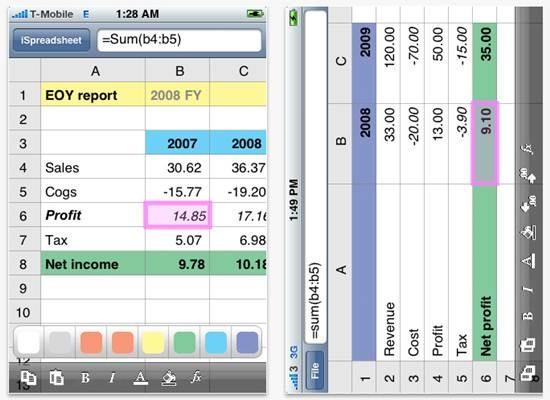 iSpreadsheet - iPhone mobile spreadsheet