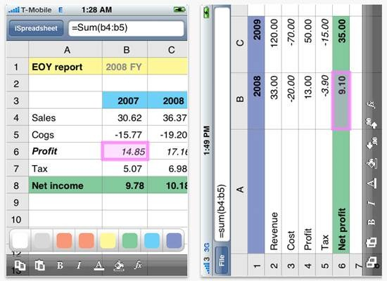 iSpreadsheet - iPhone mobile spreadsheet
