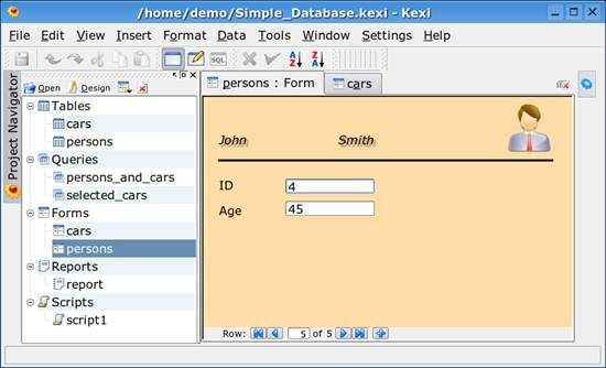 Kexi - open source integrated data management tool