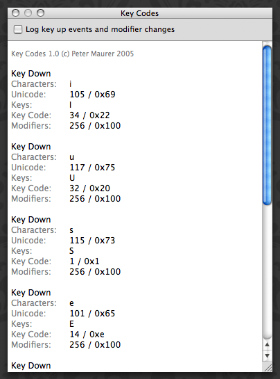 keycodes
