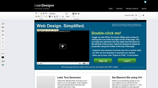 lean design web design tool