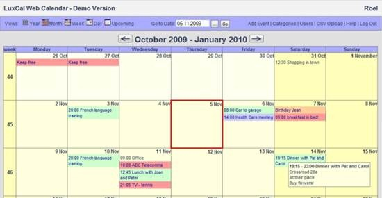 LuxCal calendar script