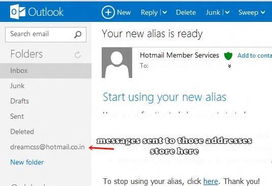 multiple e-mail alias with Outlook.com