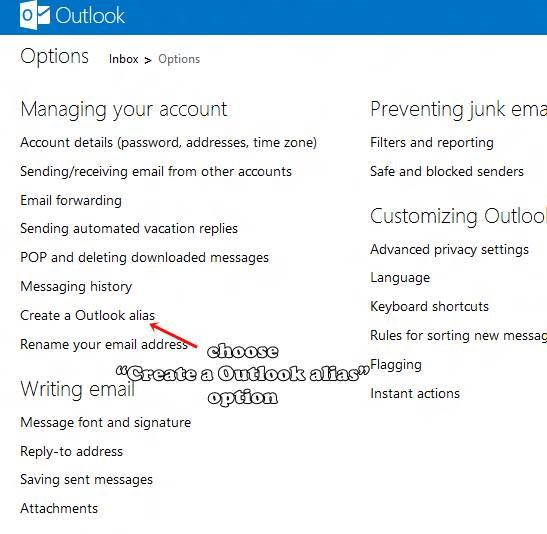 multiple e-mail aliases with Outlook.com