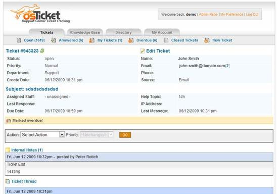 osTicket customer support ticket system