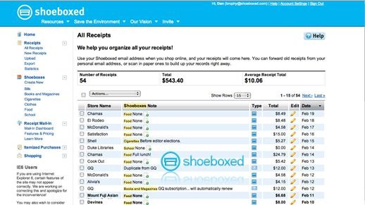 shoeboxed Online Receipt and Business Card Management System
