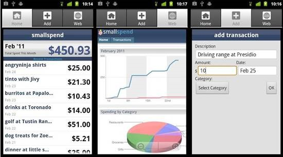 smallspend 12 useful Personal Finance manager for Android