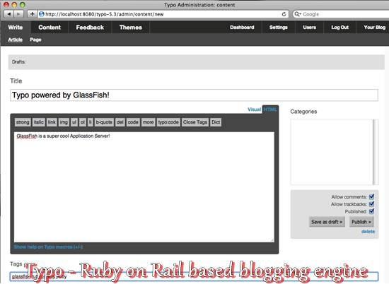 Typo - Ruby on Rail based blogging engine
