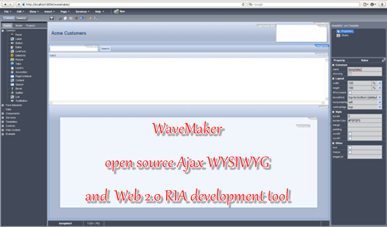 WaveMaker - open source Ajax WYSIWYG Web 2.0 RIA development tool