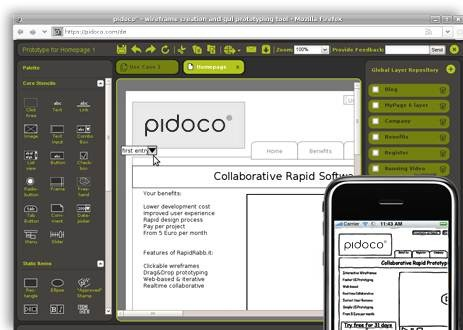 Pidoco 15 useful wireframing, prototyping and Mockups tools