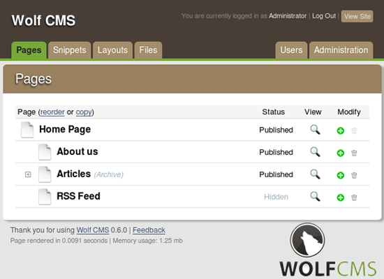 wolf CMS - PHP based open source CMS