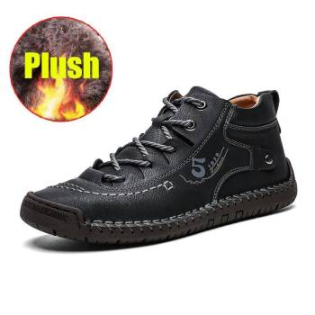 H01ad6b1428c241eeadc7c263cd38f306B 100% Leather - Men British Style Comfortable Walking Shoe